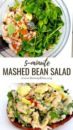 5-Minute Mashed White Bean Salad! This healthy vegan salad is perfect for sandwiches and on top of toasts. It's super easy to make, gluten-free and perfect for clean eating. Clean Eating Recipes For Weight Loss, Clean Eating Recipes For Dinner, Clean Eating Meal Plan, Healthy Dinner Recipes, Gluten Free Recipes For Breakfast, Vegan Recipes Easy, Clean Eating Vegetarian, Easy Family Meals, Family Recipes