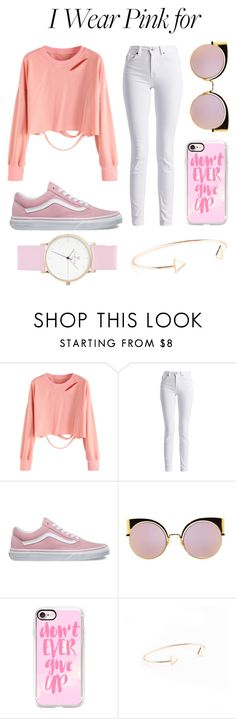 """P I N K F O R C A N C E R"" by thatgirlangie ❤ liked on Polyvore featuring Barbour International, Vans, Fendi, Casetify and IWearPinkFor"