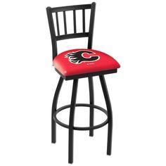 "Calgary Flames 25"" Wrinkle Swivel Bar Stool with Jailhouse Style Back - $199.00"