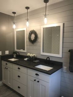 home accents bathroom Farmhouse bathroom remodel Bathroom Renos, Laundry In Bathroom, Master Bathroom, Bathroom Ideas, Washroom, Shiplap In Bathroom, Bathroom Bin, Bathroom Vanities, Bath Ideas