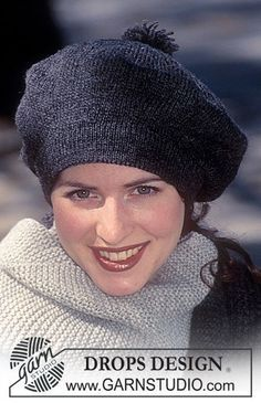 Free knitting patterns and crochet patterns by DROPS Design Knitted Beret, Crochet Beanie, Knit Crochet, Crochet Hats, Loom Knit, Knit Cowl, Crochet Granny, Hand Crochet, Knitting Patterns Free