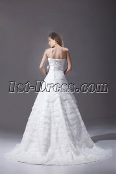 Charming White Strapless A-line Bridal Gown 2015