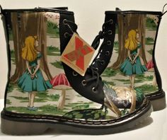 Alice in Wonderland shoes, boots. handmade and unique funky goth punk shoes