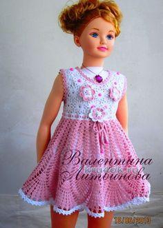 Vestido para niñas - trabajo Valentina Litvinova tejido de punto y ganchillo esquema