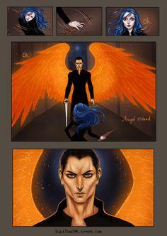 BlackBirdInk Art- comic of Karou and Akiva's first meeting