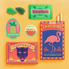 Tropical Ephemera designed by Tierra Connor. Connect with them on Dribbble; the global community for designers and creative professionals. Graphic Design Magazine, Vintage Graphic Design, Graphic Design Projects, Graphic Design Posters, Graphic Design Typography, Graphic Design Illustration, Design Web, Grid Design, Packaging Design Inspiration