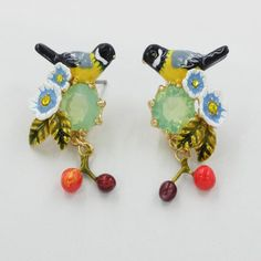 Find More Drop Earrings Information about 2016 New Les nereides Brinco flowers earrings  oriole bird cherry Women earrings jewelry,High Quality jewelry clean,China jewelri Suppliers, Cheap jewelry travel from Mak fashion jewelry store on Aliexpress.com