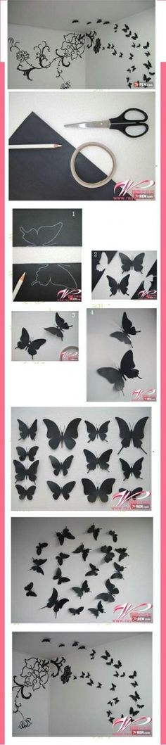 DIY Butterfly Wall Decor..looks easy. Just find a few butterfly silluette online, print it in different sizes cut it out, trace it onto cardstock, cut out again, fold slightly in half,  and tack on walll