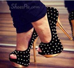 Glaring #Black Suede #Rivets Decoration #Platform High Heel #Shoes