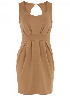 Brown Cocktail Dress - Light Brown Sleeveless Keyhole Ponte | UsTrendy