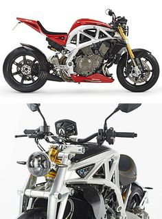 Ariel Ace - Through a partnership with Honda, Britain's foremost custom track car maker Ariel builds bikes like the Ace one-at-a-time to individual customer specs. Powered by a Honda 1237cc V4 and based around their trellis frame, your Ace can be built up in any way you like, as long as what you want is the highest quality components.