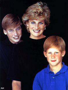 Mother  & sons..  Princess Diana, William& Harry...