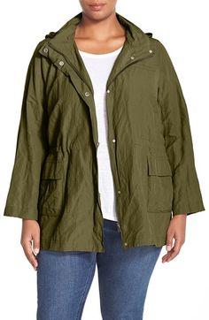Eileen Fisher 'Cotton Steel' Blend Stand Collar Jacket (Plus Size)