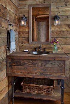 Awesome 34 Wonderful Diy Rustic Bathroom Decor Ideas You Should Have. # Bathroom 34 Wonderful Diy Rustic Bathroom Decor Ideas You Should Have Rustic Bathroom Designs, Rustic Bathroom Vanities, Rustic Bathroom Decor, Small Bathroom, Master Bathroom, Bathroom Ideas, Country Bathrooms, Bathroom Mirrors, Bathroom Faucets