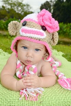 new born in sock monkey outfit | ... Sock Monkey HAT Newborn 3m 6m Crochet Baby Photo Prop Clothes Cute All