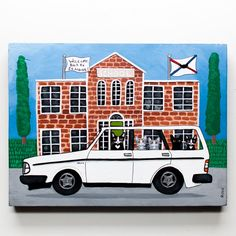 Back to School Carpool Original Cat Folk Art by KilkennycatArt