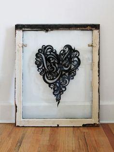 Salvaged window art