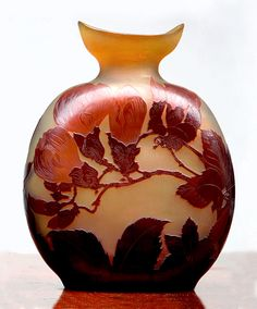 """Magnolia vase by Emile Gallé. Red flowers on a yellow background in the pilgrim shape. 13"""""""