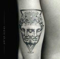 By Emrah Ozhan | #Blackwork #BlackworkTattoo #Tattoo #Vaporwave #Dotwork #DotworkTattoo #GeometricTattoo