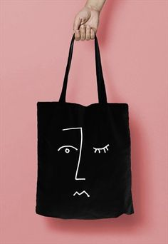 2be2e87ff443 Face Line Drawing Print Cotton Tote Bag Shopper Black White