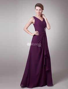 Beautiful Dark Purple Chiffon V-Neck Sleeveless Mother of The Bride Dress. Mother of the Bride gowns are meant to be stately and elegant. This one definitely passes both tests. Its made in a traditional sheath style with wide straps and a V neckline. The midsection features a wrapped bandage p.. . See More Mother of the Bride Dresses at http://www.ourgreatshop.com/Mother-of-the-Bride-Dresses-C928.aspx