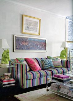 Madeline Weinrib Turquoise Luce Ikat Pillow and Beige & Pink Sugar Tibetan Carpet in Liz Bauer's Home, as seen in Decorate by Holly Becker and Joanna Copestick