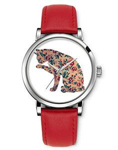 iCreat Montre Femme Quartz Bracelet Cuir Rouge Etanche - Chat Mignon Avec Fleur