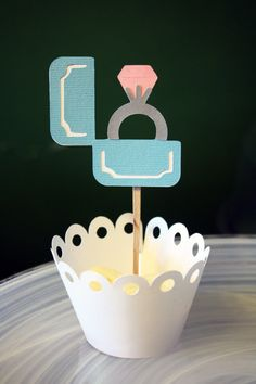 Tiffany's Engagement Ring Cupcake Toppers / by Foolishworkerbee, $8.00