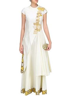 White Ark Silk Layered Anarkali Gown