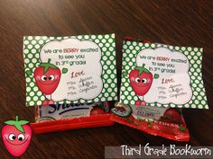 Berry Sweet Meet the Teacher Treats!  Don't run around at the last minute trying to put together Meet the Teacher treats. Print off what you need for your classroom buy some fruit snacks and you're done! :) The picture below will take you straight to your download!  3-5 back to school meet the teacher PK-2 student treats Third Grade Bookworm