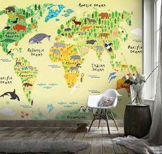 (1) 3D Cartoon Children's World Map Wall Mural Wallpaper 48 – Jessartdecoration Playroom Wallpaper, Wall Wallpaper, Kids Wallpaper, World Map Wallpaper, Animal Wallpaper, Kids World Map, Tropical Animals, Traditional Wallpaper, Peel And Stick Wallpaper