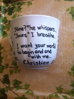a mug with Christian Grey quotes from Fifty Shades of Grey It is sent in a beautiful gift box. Do not put it in dishwasher. Dont rub it with Christian Grey Quotes, Grey Mugs, Fifty Shades Of Grey, Beautiful Gift Boxes, Dishwasher, Crafts, Etsy, Dishwashers, Manualidades