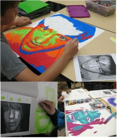 Whether it is paint, oil pastel, crayon, or anything else you could think of (yarn, paper, sequins...), 8th grade students are showing what they know about value through the process of making portraits.