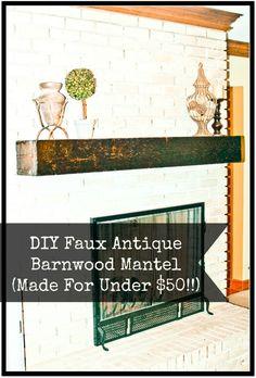 DIY Faux Antique Barnwood Mantel