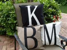Special Buy - 2 Lettered Pillows - Holiday Sale. $65.00, via Etsy.