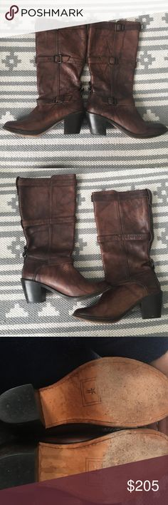 Frye Carmen 3 Strap Buckle Boots Walnut 8 Excellent condition, leather is spotless. Light wear on soles but still in incredible condition. Feel free to make a reasonable offer via the offer button! Frye Shoes Heeled Boots