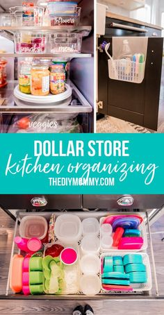 Organize Your Kitchen with these 6 Dollar Store Items Kitchen Organizing Dollar Tree Organization, Dorm Room Organization, Organization Hacks, Organizing Ideas, Dollar Store Hacks, Dollar Store Crafts, Dollar Stores, Diy Kitchen Storage, Kitchen Cabinet Organization