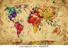 Mappemonde vintage. Peinture colorée, aquarelle, rétro style expression sur grunge, vieux papiers. Haute résolution