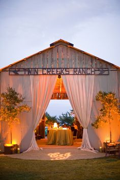 Dinner at dusk — a great idea for a ranch style reception.
