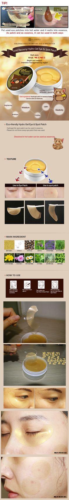 Secret key - Gold Racoony Hydro gel eye & spot patch - Secret Key Beautynetkorea Korean cosmetic
