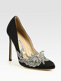 Swan Embellished Satin Pumps by Manolo Blanik