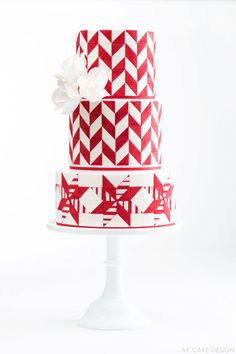 gorgeous candy cane inspired cake!  |  by AK Cake Design  |  The 12 Cakes of Christmas