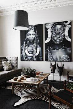 Living Room With African Decor And White Walls Also Hanging Black Pendant Lighting : Exotic And Unique African Decor For Your Home Interior