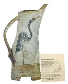 Signed Studio Handcrafted Salt Fired Pottery Heron Pitcher Barnett Pacific NW WA | eBay