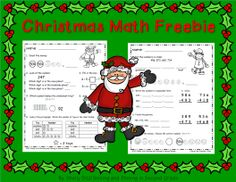Christmas Math Freebie--reviews math skills for second grade