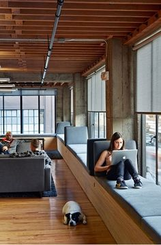 Love the coziness & love the pup of course. Heavybit Industries Office | IwamotoScott Architecture