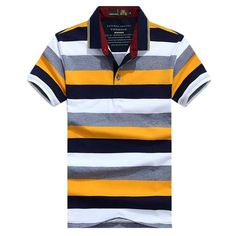 AFS JEEP Brand Striped Polo Shirt Men 2018 Summer Cotton Turn-down collar Breathable Anti-Wrinkle Business Tops Tee polo hombre Camisa Polo, Summer Stripes, Color Stripes, Polos Tommy Hilfiger, Polos Lacoste, Dickies Shorts, Jeep Brand, England Fashion, Striped Polo Shirt