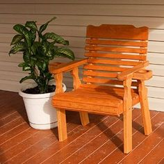 Amazon.com : Amish Heavy Duty 600 Lb Classic Pressure Treated Patio Chair With Cupholders (Cedar Stain) : Patio, Lawn & Garden
