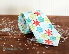 Mens Christmas Snowflake Necktie, click to buy now, coupon code PIN10, $22, by Because I'm Me