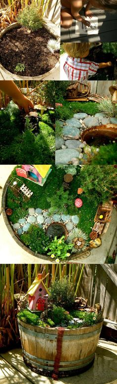 A few ideas of fairy gardens..they can be planted in pots, barrels, flower boxes or right in your garden.